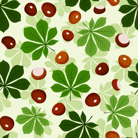 fallen fruit: Seamless pattern with chestnuts and green chestnut leaves  Vector illustration