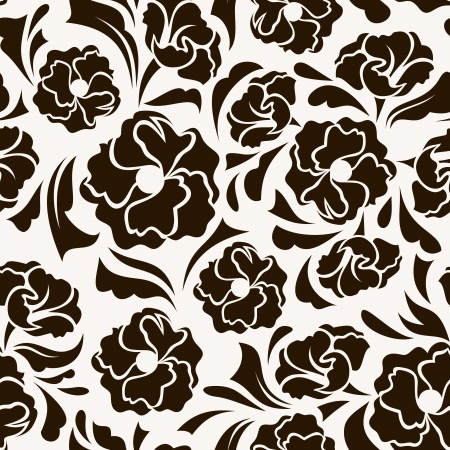 bedclothes: Seamless pattern with abstract flowers and leaves  illustration  Illustration