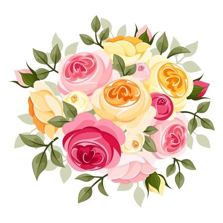 tea rose: Pink and yellow rose illustration