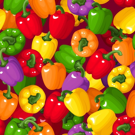 seamless background with colorful bell peppers   Vector