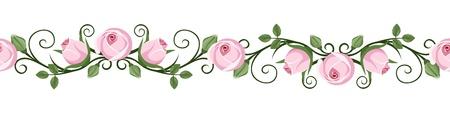 ピンクのバラの蕾イラスト ビンテージ水平シームレスなビネット