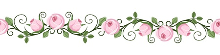 Vintage horizontal seamless vignettes with pink rose buds illustration