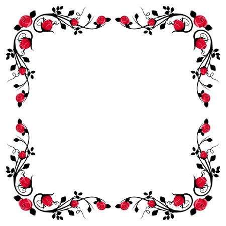 Vintage calligraphic frame with red roses illustration