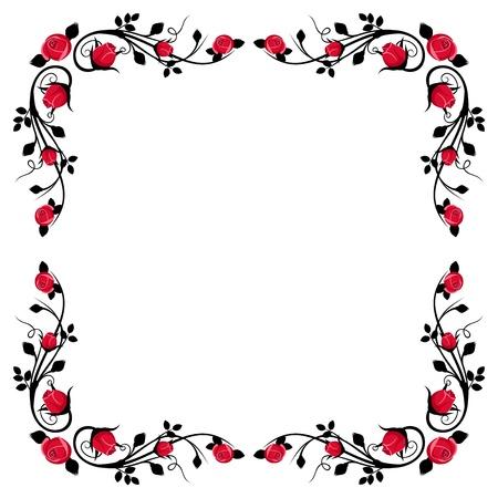 Vintage kalligrafische frame met rode rozen illustratie Stock Illustratie