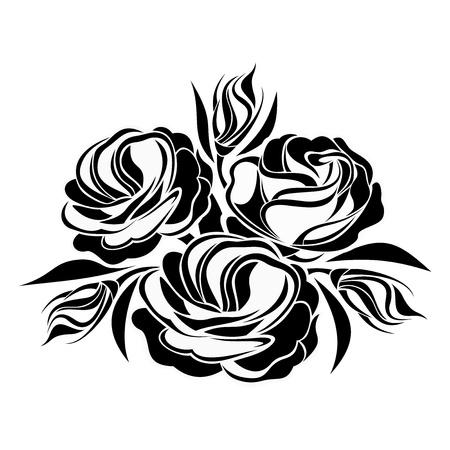 tatouage fleur: Silhouette noire de fleurs lisianthus illustration