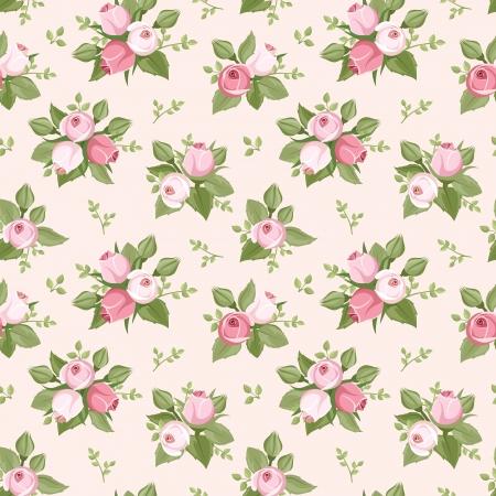 핑크와 원활한 패턴 꽃 봉오리와 잎 장미
