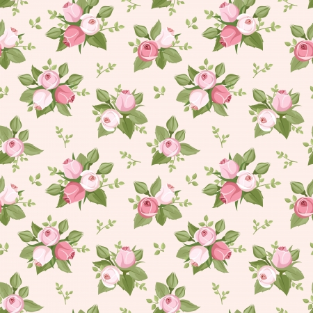 english:  seamless pattern with pink rose buds and leaves