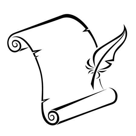 Zwart silhouet van papier schuiven en veren pen Vectorillustratie Vector Illustratie