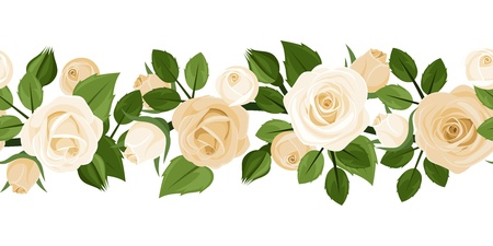 ivory: Horizontal seamless background with red roses  Vector illustration  Illustration