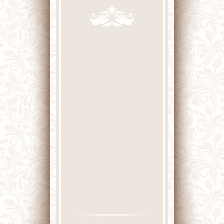 ivory: Vector card with beige floral pattern