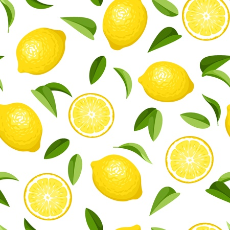 Seamless background with lemons  Vector illustration