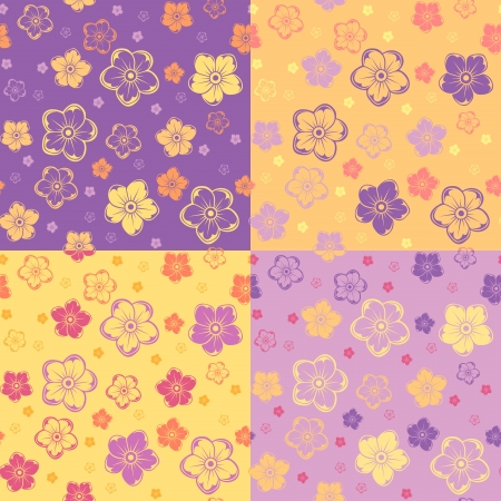 four texture: Set of four seamless patterns with flowers