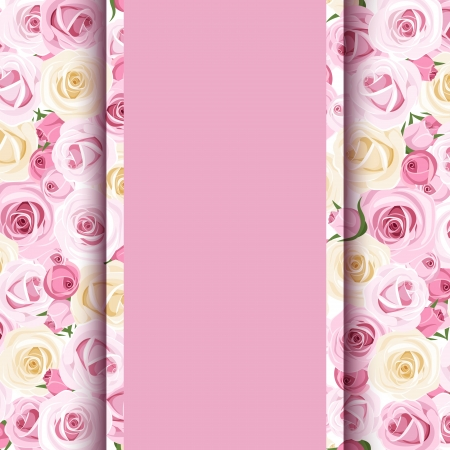pink card with roses   Vector