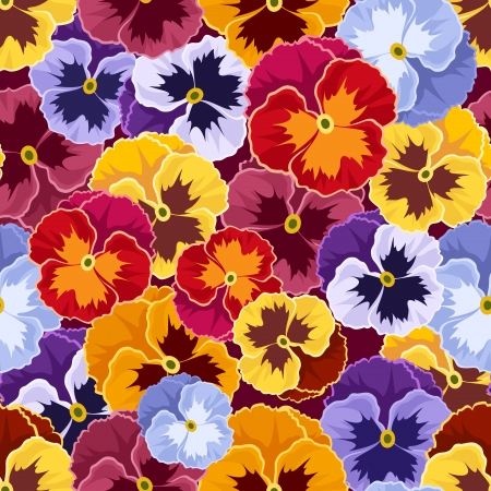 motley: Seamless pattern with colorful pansy flowers