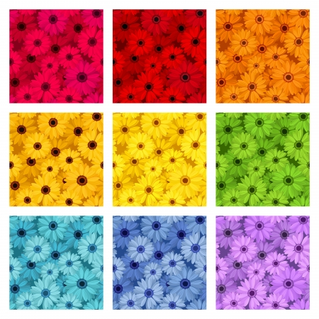 Set of nine seamless patterns with gerbera flowers   Vector