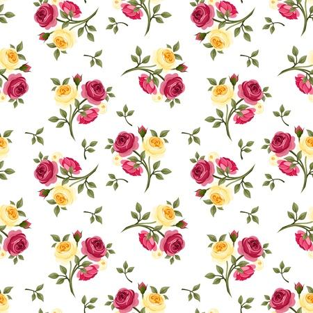 gele rozen: Naadloos patroon met rode en gele rozen