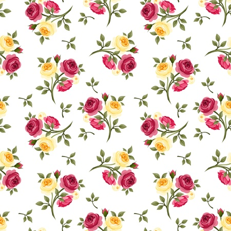 green flower: Seamless pattern with red and yellow roses