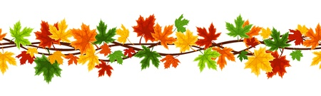 Horizontal seamless background with autumn maple leaves