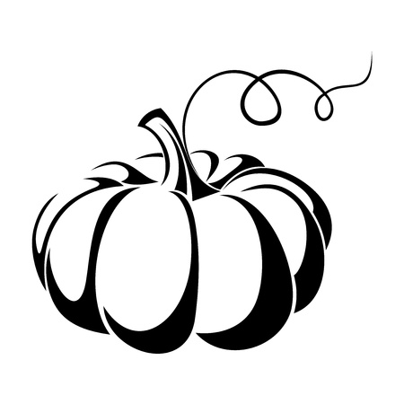 Pumpkin  Vector black silhouette  Vector