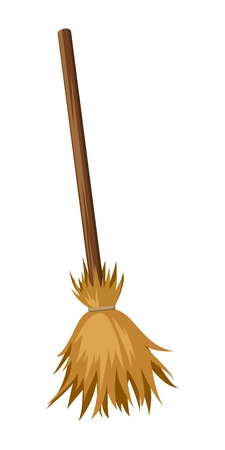 Old broom  Vector illustration  Vector