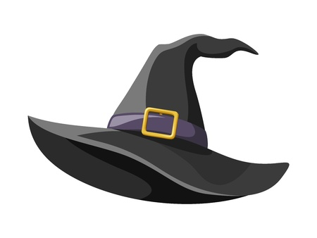 magician hat: Black witches hat  Vector illustration  Illustration