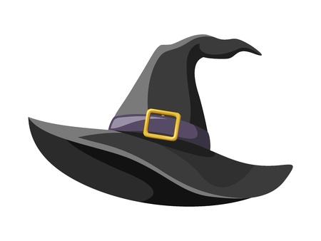 sombrero de mago: Negro brujas sombrero ilustraci�n vectorial Vectores