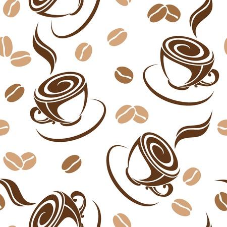 コーヒー豆とカップのベクトル イラストとのシームレスな背景