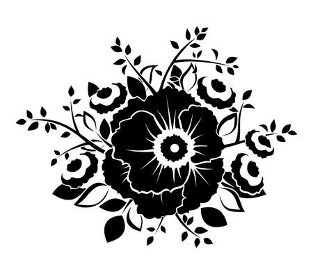 Black silhouette of flowers  Vector illustration  向量圖像