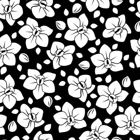 蘭の花のベクトル図とのシームレスなパターン