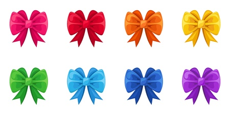 blue bow: Set of ten colorful bows  Vector illustration
