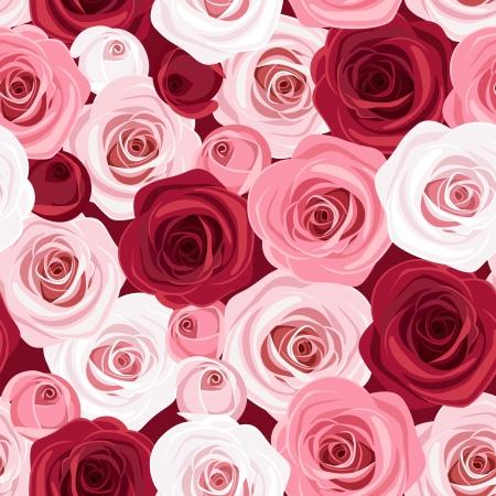 Naadloze patroon met rode en roze rozen Vector illustration