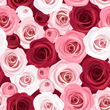 Seamless pattern with red and pink roses  Vector illustration