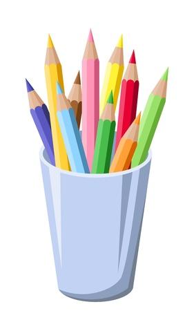 grafito: Lápices en una ilustración vectorial pot Vectores