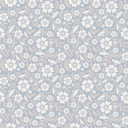 シームレスなビンテージ花パターン ベクトル イラスト