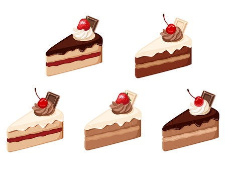Set of cake pieces  Vector illustration