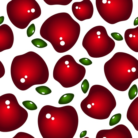claret red: Seamless background with red glossy apples and leaves  Vector illustration