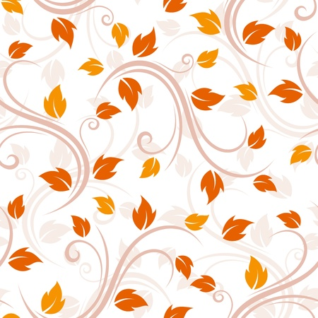 Seamless beige pattern with autumn leaves  Vector illustration