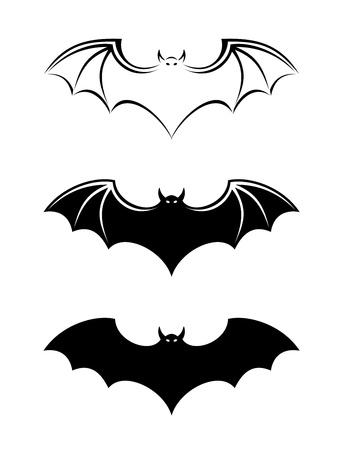 Bats  Vector black silhouettes