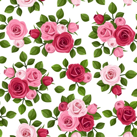 Vector seamless pattern with red and pink roses on white