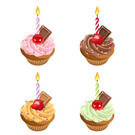 birthday candle: Birthday cupcakes  Set of four vector illustrations