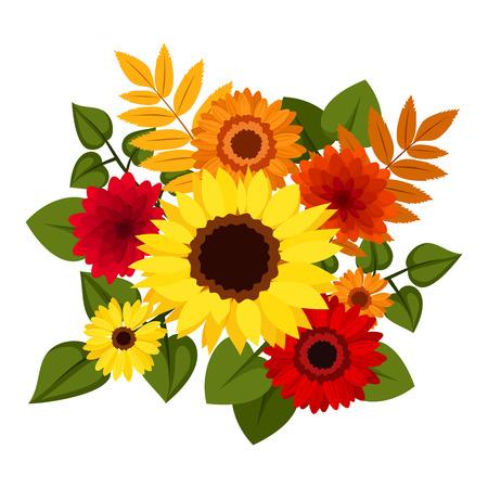 Seamless avec des fleurs d'automne coloré, vecteur, Illustration Vecteurs