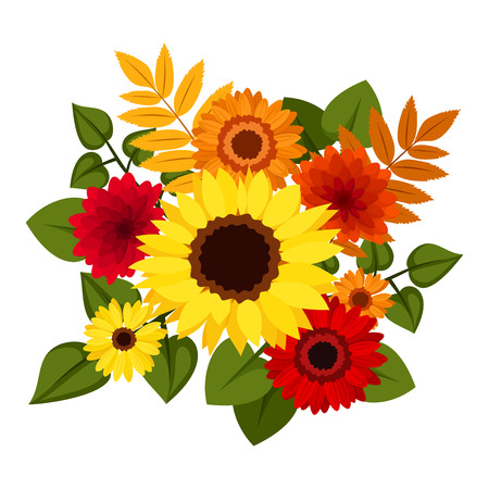 calendula: Seamless background with autumn colorful flowers  Vector illustration  Illustration