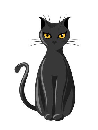 Black sitting cat  Vector illustration Imagens - 22508920
