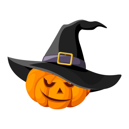 witch face: Jack-O-Lantern  Halloween pumpkin with black witches hat  Vector illustration