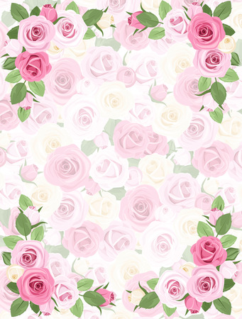 tea rose: Background with roses pattern