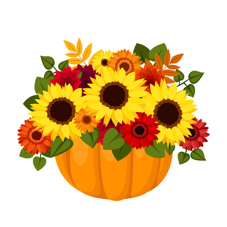 Autumn colorful flowers in pumpkin  Vector illustration