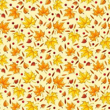 Seamless pattern with autumn leaves  Vector illustration   Vector
