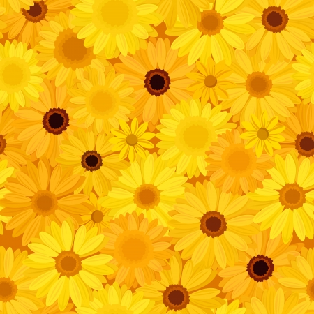 calendula flower: Seamless background with yellow flowers  Vector illustration