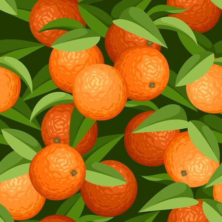 naranjas: De fondo sin fisuras con las naranjas y hojas de ilustración vectorial Vectores