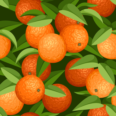 Seamless background with oranges and leaves  Vector illustration  Vector